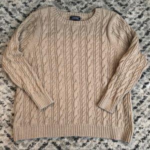 Lands End Tan Cableknit Sweater 2XL